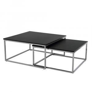 Set dvoch konferenčných stolíkov, čierna/chróm, AMIAS