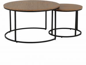 Konferenčné stolíky, set 2 ks, dub/čierna, IKLIN