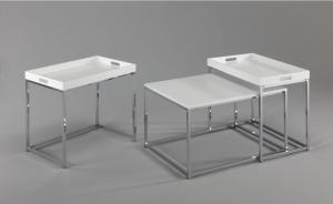 Set odkladacích stolíkov s táckou Factor, biely, 3 ks