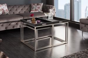 Set odkladacích stolíkov s táckou Factor, čierny, 3 ks