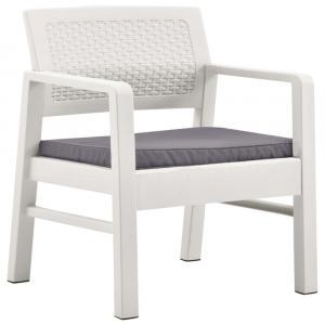 shumee 4-dielna záhradná sedacia s vankúšmi súprava biela plastová