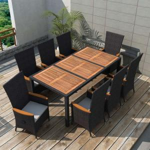 shumee 9-dielna vonkajšia jedálenská súprava, polyratan+akáciové drevo
