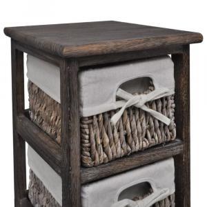 shumee Drevený regál s 3 prútenými košíkmi, hnedý