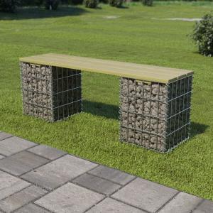 shumee Gabiónová lavička 120 cm, pozinkovaná oceľ a borovicové drevo