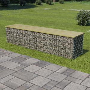 shumee Gabiónová lavička 170 cm, pozinkovaná oceľ a borovicové drevo