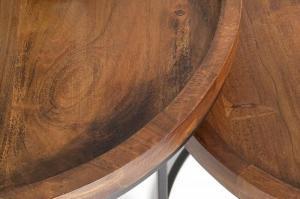 shumee INVICTA sada stolov MAKASSAR - masívne agátové drevo, kovová podnož