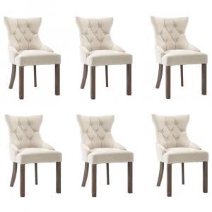 shumee Jedálenské stoličky 6 ks, béžové, látka