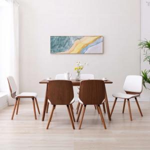 shumee Jedálenské stoličky 6 ks biele umelá koža