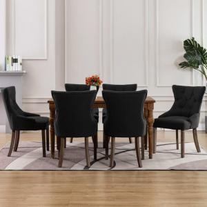 shumee Jedálenské stoličky 6 ks, čierne, látka