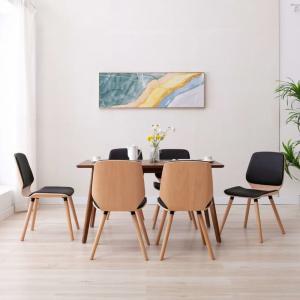 shumee Jedálenské stoličky 6 ks čierne umelá koža