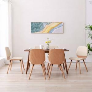 shumee Jedálenské stoličky 6 ks krémové umelá koža