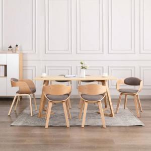 shumee Jedálenské stoličky 6 ks ohýbané drevo a hnedosivá látka