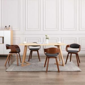 shumee Jedálenské stoličky 6 ks ohýbané drevo a sivá látka