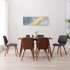shumee Jedálenské stoličky 6 ks sivé látkové