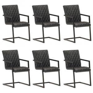 shumee Jedálenské stoličky, perová kostra 6 ks, čierne, pravá koža