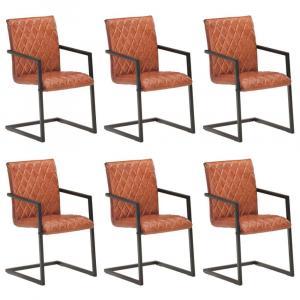 shumee Jedálenské stoličky, perová kostra 6 ks, hnedé, pravá koža