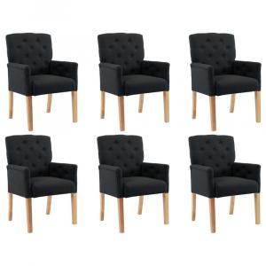 shumee Jedálenské stoličky s opierkami 6 ks, čierne, látka