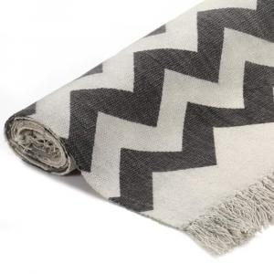 shumee Kilim koberec čierno-biely 120x180 cm bavlnený vzorovaný