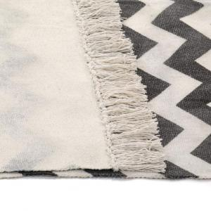 shumee Kilim koberec čierno-biely 160x230 cm bavlnený vzorovaný