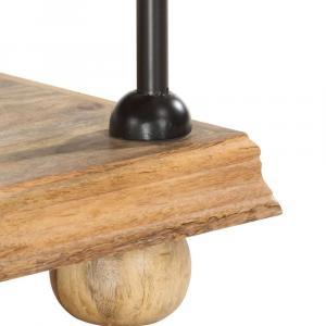 shumee Knižnica s 2 policami 110x35x75 cm masívne mangovníkové drevo a oceľ