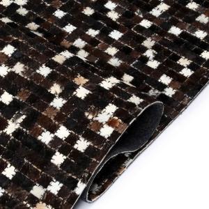 shumee Koberec z kúskov pravej kože 120x170 cm štvorcový čierno-biely