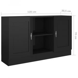 shumee Komoda, lesklá čierna 120x30,5x70 cm, drevotrieska