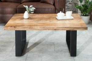shumee Konferenčný stolík INVICTA IRON CRAFT 100 - masívne mangové drevo, čierny základ
