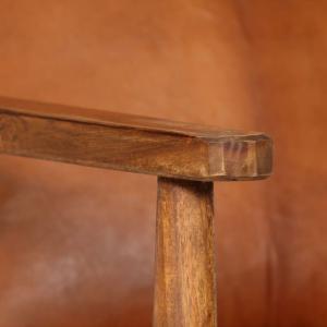 shumee Kreslo, hnedé, pravá koža s akáciovým drevom