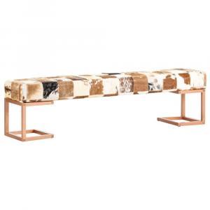 shumee Lavica hnedá 160 cm pravá kozia koža patchwork