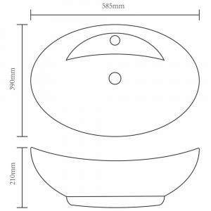 shumee Luxusné keramické umývadlo, oválny tvar a otvorom na kohútik