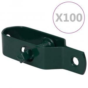 shumee Napináky na plot 100 ks, 100 mm, oceľ, zelené