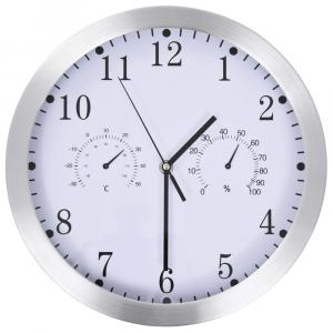 shumee Nástenné hodiny s pohonom Quartz, vlhkomer+ teplomer,biele 30cm