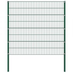 shumee Plotový panel so stĺpikmi, železo 8,5x1,6 m, zelený