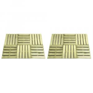 shumee Podlahové dlaždice 12 ks, 50x50 cm, drevo, zelené