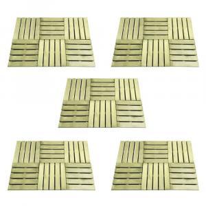shumee Podlahové dlaždice 30 ks, 50x50 cm, drevo, zelené