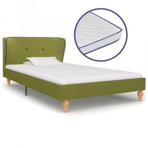 shumee Posteľ s matracom, pamäťová pena, zelená, látka 90x200 cm