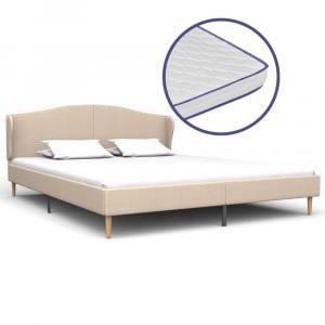 shumee Posteľ s matracom s pamäťovou penou béžová 180x200 cm látková