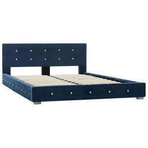 shumee Posteľ s matracom z pamäťovej peny modrá 120x200 cm zamatová