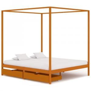 shumee Posteľný rám, baldachýn, 2 zásuvky, borovicový masív 180x200 cm