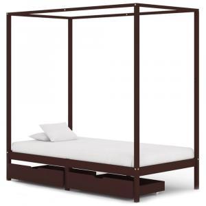shumee Posteľný rám, baldachýn, 2 zásuvky, hnedý, borovica 90x200 cm