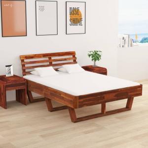 shumee Rám postele s 2 nočnými stolíkmi akáciový masív 140x200 cm