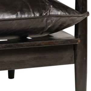 shumee Sedačka pre 2 osoby, pravá koža a akáciové drevo, čierna