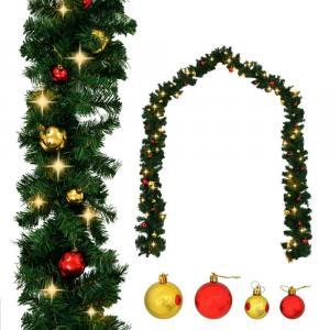 shumee Vianočná girlanda s ozdobami a LED svetielkami 10 m