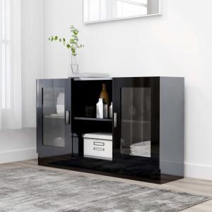 shumee Vitrína, lesklá čierna 120x30,5x70 cm, drevotrieska