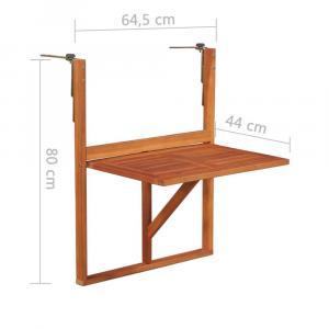 shumee Závesný stolík na balkón 64,5x44x80 cm, akáciový masív