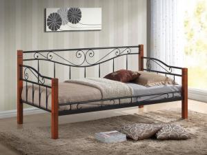 SIGNAL Kenia 90 kovová jednolôžková posteľ s roštom čierna / čerešňa antická