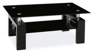 SIGNAL Lisa II sklenený konferenčný stolík čierna / chrómová
