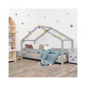 Sivá detská posteľ domček s bočnicou Benlemi Lucky, 80 x 180 cm