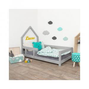 Sivá detská posteľ domček s ľavou bočnicou Benlemi Poppi, 80 x 180 cm