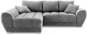 Sivá rozkladacia rohová pohovka so zamatovým poťahom Windsor & Co Sofas Nuage, ľavý roh